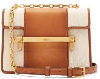 Valentino Uptown Small Leather And Canvas Cross Body Bag - Womens - Tan Multi