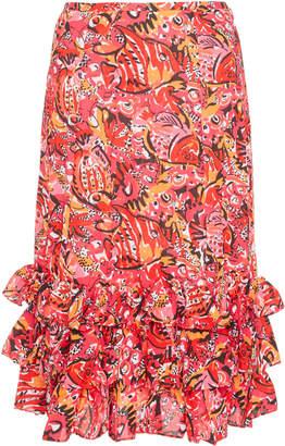 Michael Kors Crushed Ruffle Silk Fish Skirt