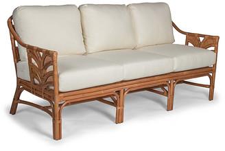 One Kings Lane Palm Leaf Rattan Sofa - Off-White