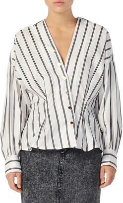 Sandro Naelle Stripe Asymmetrical Snap Placket Cotton Shirt