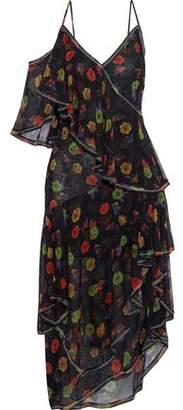 Jason Wu Crystal-embellished Printed Silk-chiffon Midi Dress