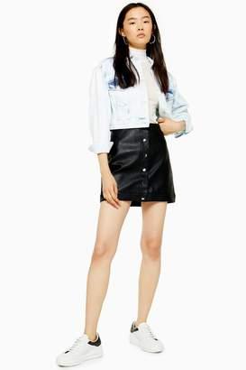 Topshop Womens Popper Pu Mini Skirt - Black