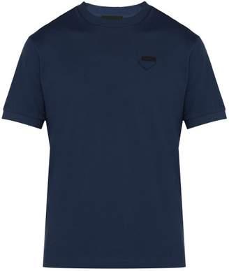 Prada Conceptual Triangle Logo Cotton Pique T Shirt - Mens - Mid Blue
