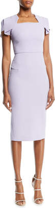 Roland Mouret Square-Neck Cap-Sleeve Sheath Dress
