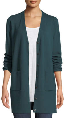 Eileen Fisher Fine Merino V-Neck Snap-Front Cardigan, Plus Size