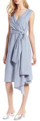 Halogen Tie Front Chambray Linen Blend Dress