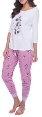 Munki Munki Mommy & Me Pajamas Women's Minnie Mouse Sparkle Fleece Jogger Set
