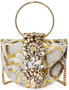 Gedebe Brigitte Mini Jeweled Snakeskin Top-Handle Bag