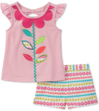 Kids Headquarters 2-Pc. Flower Top & Shorts Set, Baby Girls