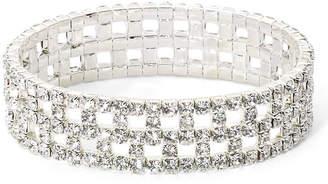 VIESTE ROSA Vieste Silver-Tone & Rhinestone Box Pattern Stretch Bracelet