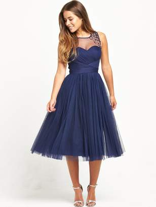 Little Mistress PETITE Midi Dress - Navy