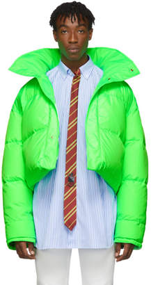 Vetements Reversible and Convertible Green Down Fluorescent Puffer Jacket