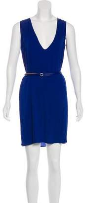 Loro Piana Leather Belt-Accented Shift Dress