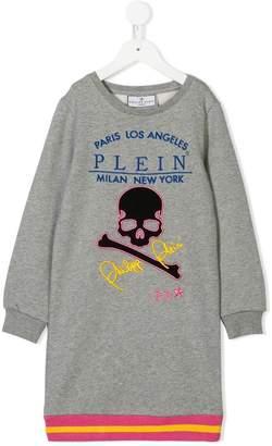 Philipp Plein Junior skull logo embroidered sweatshirt dress