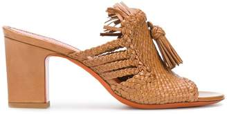 Santoni weave and tassel front sandals