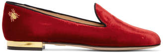 Charlotte Olympia Red Velvet Nocturnal Loafers