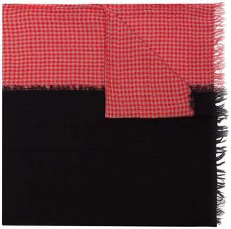 Yohji Yamamoto houndstooth print and frayed edge wool scarf