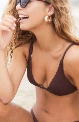 LA Hearts Brown Ribbed Fixed Triangle Bikini Top