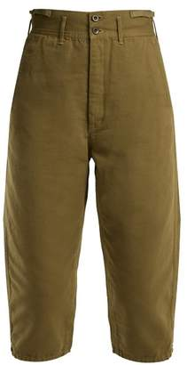 Chimala High Rise Cotton Cropped Trousers - Womens - Khaki