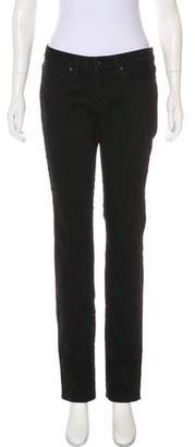 Karl Lagerfeld Distressed Mid-Rise Straight Jeans