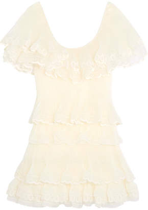Chloé - Tiered Plissé Silk-organza Mini Dress - Pastel yellow $8,050 thestylecure.com