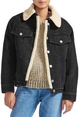 Maje Women's Faux Shearling Collar& Lined Denim Jacket - Black - Size 40 (8)