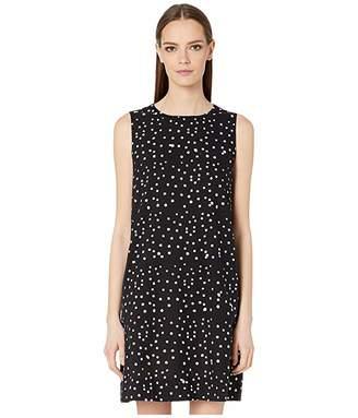 Eileen Fisher Hand Printed Cotton Dot Round Neck Dress