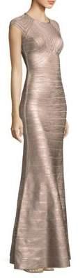 Herve Leger Metallic Illusion Gown