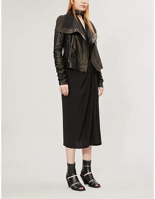 Rick Owens High-neck rib-knit leather biker jacket