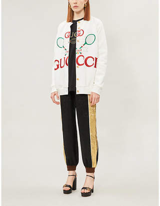 Gucci Tennis logo-embroidered cotton-jersey and silk cardigan