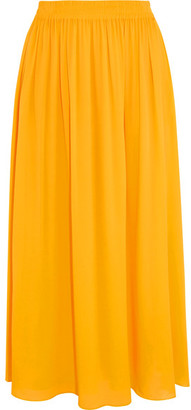 Emilio Pucci - Georgette Midi Skirt - Yellow $1,080 thestylecure.com