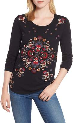 Lucky Brand Embroidered Floral Long Sleeve Tee