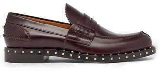 Valentino Soul Rockstud Leather Penny Loafers - Mens - Burgundy