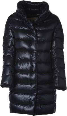 Herno Blue Feather Down Jacket With High Neck