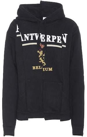 Vetements Printed cotton-blend hoodie