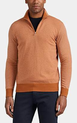 Loro Piana Men's Roadster Cashmere Half-Zip Sweater - Orange