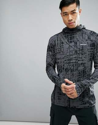 Marmot Harrier Baselayer Hoodie in Dark Gray Print