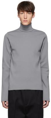 Jil Sander Grey Flyer Patch Turtleneck Sweater