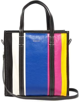Balenciaga Bazar Leather Tote - Womens - Blue Multi