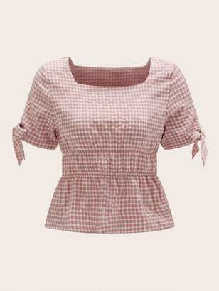 Shein Gingham Square Neck Knotted Cuff Peplum Top