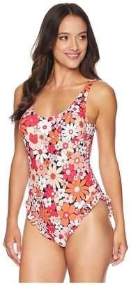 MICHAEL Michael Kors Cherry Summer Flower One-Piece w/ High Leg Ruffle Removable Soft Cups Women's Swimsuits One Piece