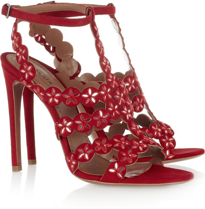 Alaia Mirror-embellished suede sandals