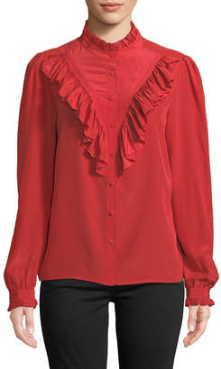 Zadig & Voltaire Taccora Button-Down Ruffle Silk Blouse