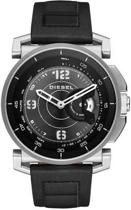 Diesel Men's Black Leather Strap Hybrid Smart Watch 47x58mm DZT1000 $225 thestylecure.com