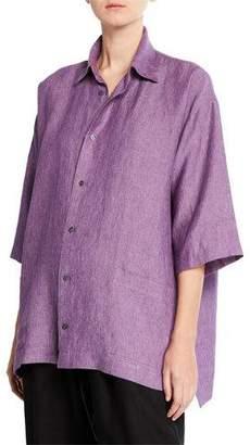 eskandar Melange Knit Linen Button-Front Shirt