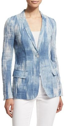 Elie Tahari Tova One-Button Jacket, Light Denim/Multi $398 thestylecure.com