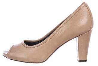 Alberto Fermani Peep-Toe Leather Pumps