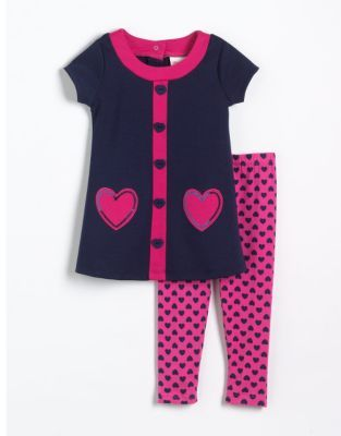 Flapdoodles Girls 2-6x Two-Piece Heart Dress & Leggings Set