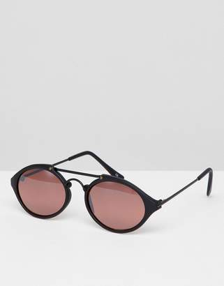 Reclaimed Vintage Inspired Round Sunglasses In Black/Pink Exclusive To ASOS