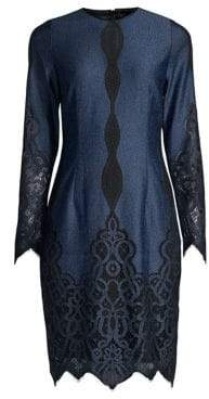 Elie Tahari Pepper Lace-Trim Shift Dress